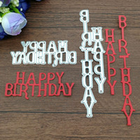 Wholesale Die Cutters - 2pc Letters Happy Birthday Metal cutting dies Scrapbook card album paper craft home decoration embossing stencils cutter
