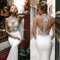 Wholesale Sheath Fitted Wedding Dresses - elegant chic fit and flare sheath wedding dresses 2018 julie vino bridal halter neck heavily embellished bodice rasor back chapel train