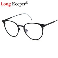 Vente en gros - Long Keeper Retro Round Eyes Glasses Frame Hommes Femmes Ultra Light Vintage Eyeglasses Frame Plain Lens oculos de grau femininos