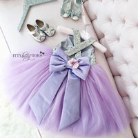 Wholesale Big Flower Pictures - Silver Gold Sequin Flower Girl Dress Tulle dress Big Bow Hollow Back For Wedding Kids Pageant Birthday Prom Purple Ivory Baby Gown
