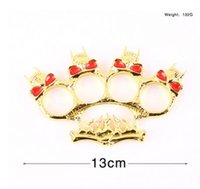 Wholesale Skull Hand Pendant - Skull BAT Knuckle Dusters Self Defense Finger Knuckles Alloy Hand Protective Gear Personal Security Women's and Men's Self-defense Pendant