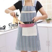 rote küchenschürzen großhandel-Hotsale Küche Zubehör Frau Erwachsene Lätzchen Hausmannskost Backen Café rot blau vertikal gestreift Baumwolle Leinen Küche Reinigung Schürzen