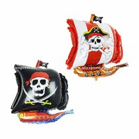 Wholesale Red Trolley - 10pcs New 45*45cm corsair aluminium foil balloons cartoon shaped Pirate ship mylar baloons party decoration ballon free shipping