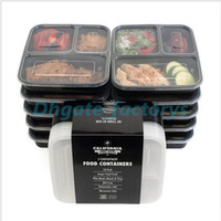 Wholesale Plastic Storage Boxes Lids - NEW 3 Compartment Reusable Plastic Food Storage Containers with Lids, Microwave and Dishwasher Safe, Bento Lunch Box, Set of 5