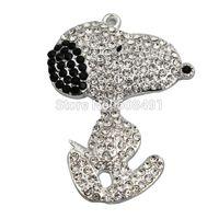 Wholesale Wholesale Chunky Little Girl Necklaces - Wholesale- Cartoon Rhinestone Pendant Chunky Beads Necklace Pendant 55*40mm Cute Sliver Snoopii Pendant Little Girls Best Gift