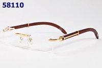 Wholesale Wood Framed Optical Glasses - New men rimless optical glasses frame designer buffalo horn glasses women gold wood frame fashion spectacle frames