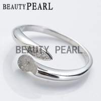 Wholesale Make Jewellery Sets - Bulk of 3 Pieces Ring Blanks DIY Jewellery Making 925 Sterling Silver Ring Setting Pin Fits Round Pearls