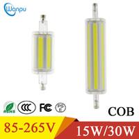 r7s führte 78mm 15w großhandel-Verdunkelnde LED-Lichter 15W 30W R7S PFEILER LED-Licht 78mm 118mm Lampe AC85V-265V Birnen-Schlauch ersetzen 50W 60W Faden-Halogenlampe