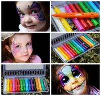 Wholesale Party Face Paint - 16 Colors Face Painting Pencils Splicing Structure Face Paint Crayon Christmas Halloween Body Painting Pen Stick For Children Party Makeup