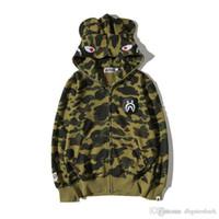 Wholesale Camouflage Jacket Hood - 2017 Men's Tide Brand Camouflage Cartoon Printing Hoodie Sweater Men's Casual Hood Thin Hoodie Jacket Tops Sizes M-2XL