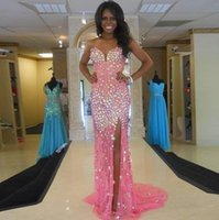 Wholesale Rhinestone Split Dress - Sparkle Bling Bling Long Evening Dresses Sweep train Sweetheart Backless High Split side Rhinestones Sexy Long Pageant Prom gowns