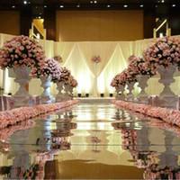 зеркальный свадебный ковер оптовых-Новое поступление шириной 1,2 м 10 м много блестящие свадебные центральные декора бегун проход серебряный пластиковый зеркало ковер