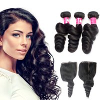 Wholesale 1b Brazilian Loose Wave Closure - 7A Virgin Brazilian loose wave bundles with closoure Unprocessed Peruvian loose wave 1B Black loose wave hair with closure