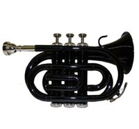Wholesale gold brass trumpet - Wholesale- New B Flat Black Pocket Trumpet with Zippered Hard Case+Free