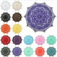 güneş şemsiyeleri düğün toptan satış-Renkli Pamuk Gelin Şemsiye El Yapımı Battenburg Dantel Nakış Güneş Şemsiye Zarif Düğün Parti Dekorasyon Şemsiye