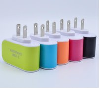 US Europe Plug 3 USB Wall Chargers Adaptador de corriente 5V 3.1A LED Travel Conveniente adaptador de corriente con puertos triples USB2.0 para teléfonos móviles y tabletas