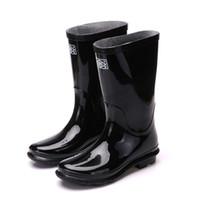 Wholesale New Mens Boots Knee High - Wholesale-Hot! 2016 New Fashion Men Rain Shoes Casual Mens Rubber Rain Boots Black Knee High Boots Large size Waterproof Rainboots O1328