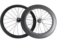 Wholesale Carbon Wheels Bike 88 - Mix Carbon Track Bike Wheels Full Carbon 50+88 mm Clincher Tubular Single Speed Track Bike Wheelset 20 24 Hole Fix Gear Wheels