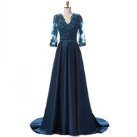 Wholesale long sleeve formal dresses online - Glamorous Real Dark Navy Evening Dresses With Sleeves Long Illusion Applique Beading Women Prom Dress Formal Gowns Party Dress Custom Made