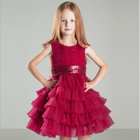 rote kleine mädchen formale kleider großhandel-2019 Little Red Girls Kleider Crew Lace Kids Brautkleider für Jugendliche Formal The Princess Dress