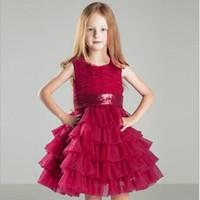 vestidos formais de menina vermelha venda por atacado-2019 Little Red Vestidos de Meninas Tripulação Rendas Crianças Vestidos de Casamento Para Adolescentes Formais O Vestido de Princesa