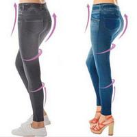 Wholesale Jeggings For Plus Size - Wholesale- Sales Leggings Jeans for Women Denim Pants with Pocket Slim Jeggings with VelvetFitness Plus Size Leggings S-XXL Black Gray Blue