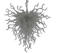 ingrosso murano plafoniere-Plafoniere in vetro soffiato bianco soffiato a mano. Lampadari in vetro soffiato soffiato a mano