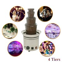Wholesale Electric Chocolate Fondue Fountain - Fashion Commercial 4 Tiers Electric Chocolate Fountain Fondue Maker Adjustable Luxury Stainless Steel 28x58cm for Wedding Party Hotel