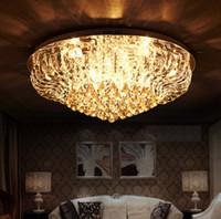 Wholesale Circular Light Chandelier - Luxury K9 Crystal Large Ceiling Lamp Modern LED E14 Lighting Minimalist Circular Living Room Hall Chandeliers with LLFA