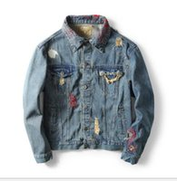 Wholesale winter water factory - 2018 autumn and winter new men's denim jacket washing water hole embroidery pattern denim jacket factory outlet