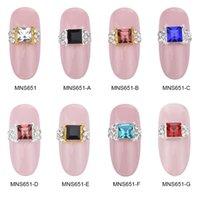 Wholesale China Beauty Supplies - Wholesale- MNS651C nail art gold Square ring 3d nail art charms china beauty supplies nails decorations new arrive 10pcs