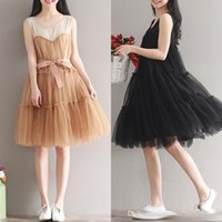 Wholesale Cute Plus Size Clothes - New Women Summer Dresses Chiffon Plus Size Woman Clothing Sleeveless Casual Mesh Dress O Neck Cute A-Line Tank Solid Black Dress