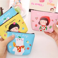 Wholesale Cheapest Leather Wallets - Wholesale- Ladies Cheapest Top PU Leather Cartoon Cute Girl Flower Waterproof Small Coin Purse Little Money Bag Pouch Mini Coin Wallet