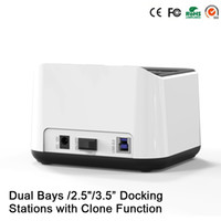 Wholesale Disk Cases - Wholesale- Sata USB 3.0 disco externo 1tb 2 bay usb 3.0 hdd case Dual hdd bay hard disk external hard drive case docking station HD05