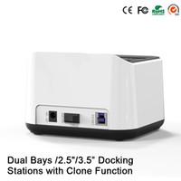 Wholesale Dual Sata Hdd Docking Station - Wholesale- Sata USB 3.0 disco externo 1tb 2 bay usb 3.0 hdd case Dual hdd bay hard disk external hard drive case docking station HD05