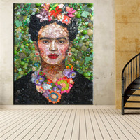Wholesale Marilyn Monroe Framed Art - Art Canvas Print Poster Frida Kahlo as A Hipster by Fab Ciraolo Wall Decor Canvas Painting Marilyn Monroe Wall Picture No Framed