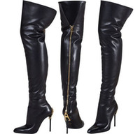 Wholesale Ladies Leather Thigh High Boots - over the knee thigh high women winter long boot zipper insert lady genuine leather booties high heel