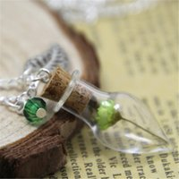 Wholesale Mini Green Glass Bottles - 8pcs Green Flower Mini Glass Bottle Necklace leaf charm and green crystal silver chain necklace