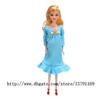 ingrosso giocattoli della bambola vivaci del bambino-Baby Girl Toy Real Bambola incinta si adatta alla mamma Bambola Avere un bambino nella sua bambola rinata Alive Reborn Happy Family Toy Blue