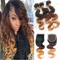 Wholesale Lace Front Part Closure - Ombre Lace Closures With Hair Bundles Three Tone Brazilian Body Wave Virgin Human Hair Weaves With Lace Front Closure T1b 4 27