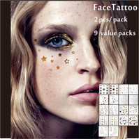 Wholesale Temporary Foil Tattoo - Wholesale 9 Packs Facial Decor Tattoos, Non-toxic And Waterproof Foiled Temporary Tattoo, Glitter Makeup