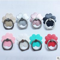Wholesale Pink Leaf Ring - 360 Finger Ring For Mobile Phone Bracket 3D Kawaii Four Leaf Lazy Ring Buckle for iPhone 8 7 6 6s plus Galaxy s8 Plus iPAD Holder Factory