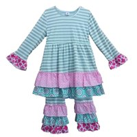 02372691a Wholesale- Factory Direct Sale Girls Giggle Moon Remake Clothing Gray  Stripes Top Three Ruffles Pants Outfits Kids Boutique Clothing F015