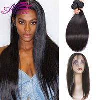 Hot Sale 360 ​​Lace Frontal Closure With Bundles Cheveux Humains Peruvian straight Pre pincé 360 front Closure With Bundles