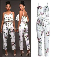 Wholesale Lady Blouses Piece - Ladies Summer Floral Print Casual Two Pieces Set Suit Womens Sleeveless Spaghetti Strap Tank Vest Tops Blouse Shirt + Pants Sportwear