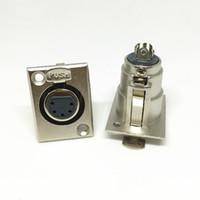 conector mini pino xlr venda por atacado-100 pçs / lote XLR Conectores De Microfone XLR Feminino 5 Pinos de Áudio XLR 5P Soquete Plug Panel Mount Niquelado Adaptador