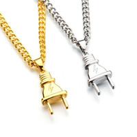 Wholesale Black Mask Necklace - Punk Mask Plug Gold Silver Color Metal Submachine Hatet Pistol Necklace Pendant Hip Hop Jewelry for Men Women