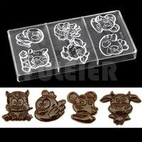 molde plástico de chocolate al por mayor-1 Unid Molde de Chocolate de Plástico forma de dibujos animados Hornear Policarbonato Molde de Chocolate Para Hornear Rectángulo Herramientas de Cocina