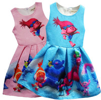 Wholesale Dress Dhl - Trolls Pleated dress cartoon Trolls printing Princess sleeveless dresses Kids Clothing girl princess dresses,DHL free shipping
