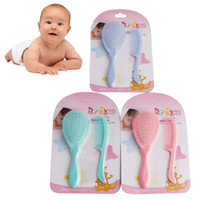 Wholesale Hair Brush Baby - 2Pcs Set Safety Soft Baby Hair Brush Infant Comb Grooming Shower Design Pack Kit